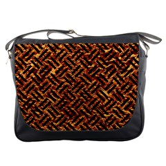 Woven2 Black Marble & Copper Foil (r) Messenger Bags by trendistuff