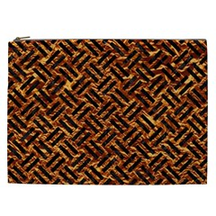 Woven2 Black Marble & Copper Foil (r) Cosmetic Bag (xxl)  by trendistuff