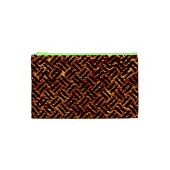 Woven2 Black Marble & Copper Foil (r) Cosmetic Bag (xs) by trendistuff