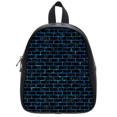 Brick1 Black Marble & Deep Blue Water School Bag (small) by trendistuff