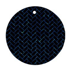 Brick2 Black Marble & Deep Blue Water Ornament (round) by trendistuff