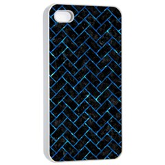 Brick2 Black Marble & Deep Blue Water Apple Iphone 4/4s Seamless Case (white) by trendistuff
