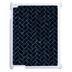 Brick2 Black Marble & Deep Blue Water Apple Ipad 2 Case (white) by trendistuff