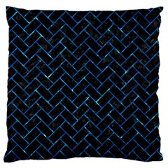 Brick2 Black Marble & Deep Blue Water Large Cushion Case (one Side) by trendistuff