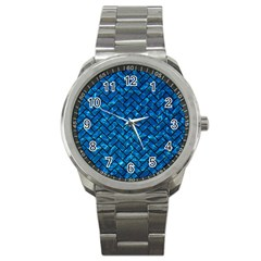 Brick2 Black Marble & Deep Blue Water (r) Sport Metal Watch by trendistuff