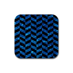 Chevron1 Black Marble & Deep Blue Water Rubber Square Coaster (4 Pack)  by trendistuff