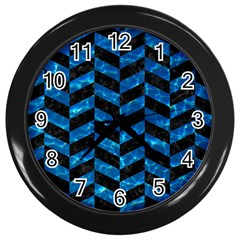 Chevron1 Black Marble & Deep Blue Water Wall Clocks (black) by trendistuff