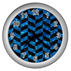 Chevron1 Black Marble & Deep Blue Water Wall Clocks (silver)  by trendistuff