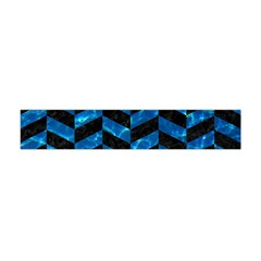 Chevron1 Black Marble & Deep Blue Water Flano Scarf (mini) by trendistuff