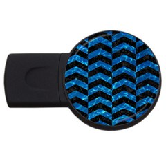 Chevron2 Black Marble & Deep Blue Water Usb Flash Drive Round (2 Gb) by trendistuff