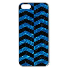 Chevron2 Black Marble & Deep Blue Water Apple Seamless Iphone 5 Case (clear) by trendistuff