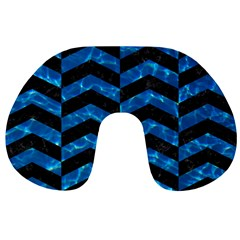 Chevron2 Black Marble & Deep Blue Water Travel Neck Pillows by trendistuff