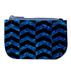 Chevron2 Black Marble & Deep Blue Water Large Coin Purse by trendistuff