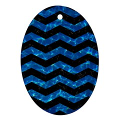 Chevron3 Black Marble & Deep Blue Water Ornament (oval) by trendistuff