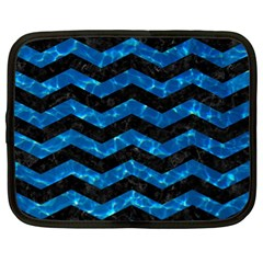Chevron3 Black Marble & Deep Blue Water Netbook Case (xl)  by trendistuff