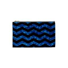 Chevron3 Black Marble & Deep Blue Water Cosmetic Bag (small)  by trendistuff
