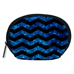 Chevron3 Black Marble & Deep Blue Water Accessory Pouches (medium)  by trendistuff