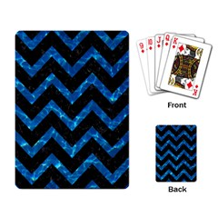 Chevron9 Black Marble & Deep Blue Water Playing Card by trendistuff