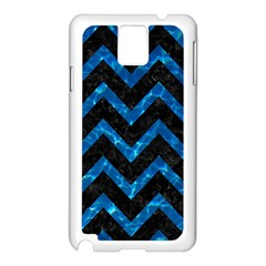 Chevron9 Black Marble & Deep Blue Water Samsung Galaxy Note 3 N9005 Case (white) by trendistuff