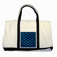 Chevron9 Black Marble & Deep Blue Water (r) Two Tone Tote Bag by trendistuff