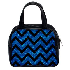 Chevron9 Black Marble & Deep Blue Water (r) Classic Handbags (2 Sides)