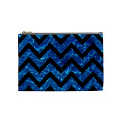 Chevron9 Black Marble & Deep Blue Water (r) Cosmetic Bag (medium)  by trendistuff