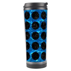 Circles1 Black Marble & Deep Blue Water (r) Travel Tumbler by trendistuff