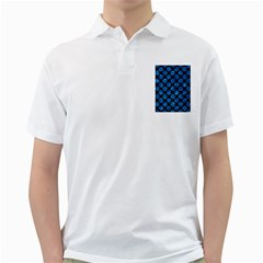 Circles2 Black Marble & Deep Blue Water Golf Shirts by trendistuff