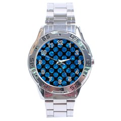 Circles2 Black Marble & Deep Blue Water Stainless Steel Analogue Watch by trendistuff