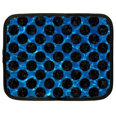 Circles2 Black Marble & Deep Blue Water (r) Netbook Case (xl)  by trendistuff