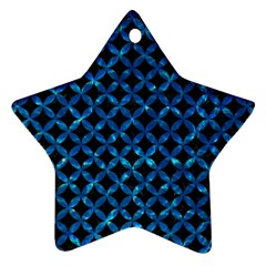 Circles3 Black Marble & Deep Blue Water Star Ornament (two Sides) by trendistuff