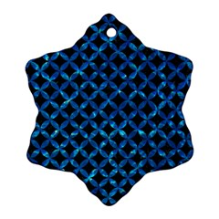 Circles3 Black Marble & Deep Blue Water Ornament (snowflake) by trendistuff