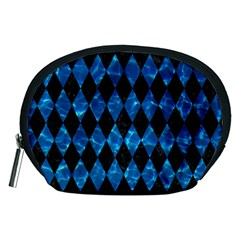 Diamond1 Black Marble & Deep Blue Water Accessory Pouches (medium)  by trendistuff