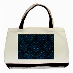 Damask1 Black Marble & Deep Blue Water Basic Tote Bag (two Sides) by trendistuff