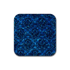 Damask1 Black Marble & Deep Blue Water (r) Rubber Square Coaster (4 Pack)  by trendistuff