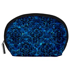 Damask1 Black Marble & Deep Blue Water (r) Accessory Pouches (large)  by trendistuff
