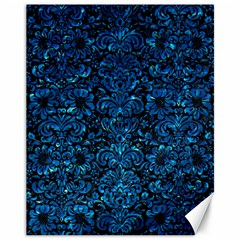 Damask2 Black Marble & Deep Blue Water Canvas 11  X 14   by trendistuff