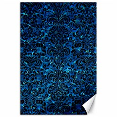 Damask2 Black Marble & Deep Blue Water (r) Canvas 20  X 30   by trendistuff