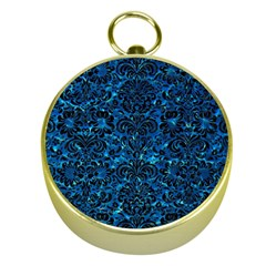 Damask2 Black Marble & Deep Blue Water (r) Gold Compasses by trendistuff