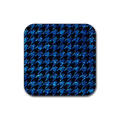 Houndstooth1 Black Marble & Deep Blue Water Rubber Square Coaster (4 Pack)  by trendistuff