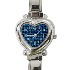 Houndstooth1 Black Marble & Deep Blue Water Heart Italian Charm Watch by trendistuff