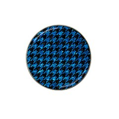 Houndstooth1 Black Marble & Deep Blue Water Hat Clip Ball Marker (10 Pack) by trendistuff