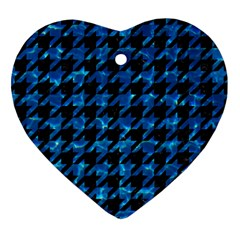 Houndstooth1 Black Marble & Deep Blue Water Heart Ornament (two Sides) by trendistuff