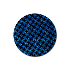 Houndstooth2 Black Marble & Deep Blue Water Rubber Round Coaster (4 Pack)  by trendistuff