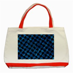 Houndstooth2 Black Marble & Deep Blue Water Classic Tote Bag (red) by trendistuff