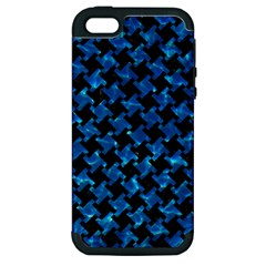 Houndstooth2 Black Marble & Deep Blue Water Apple Iphone 5 Hardshell Case (pc+silicone) by trendistuff