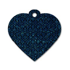 Hexagon1 Black Marble & Deep Blue Water Dog Tag Heart (one Side) by trendistuff