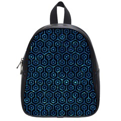 Hexagon1 Black Marble & Deep Blue Water School Bag (small) by trendistuff
