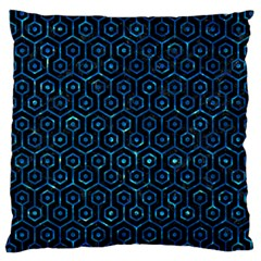 Hexagon1 Black Marble & Deep Blue Water Large Cushion Case (two Sides) by trendistuff