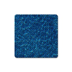 Hexagon1 Black Marble & Deep Blue Water (r) Square Magnet by trendistuff